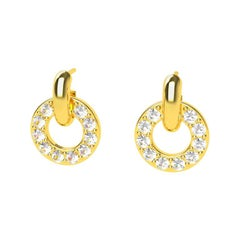 18 Karat Yellow GIA Diamond Hoop Dangle Earrings