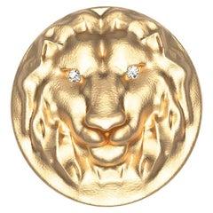 18 Karat Yellow GIA Diamond Lion Head Signet Ring