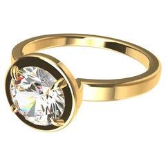 18 Karat Yellow Go GIA Certified G,SI1 Diamond Solitaire Engagement Ring
