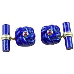 18 Karat Yellow GoId Rubies Lapis Lazuli Interwoven Square Cufflinks