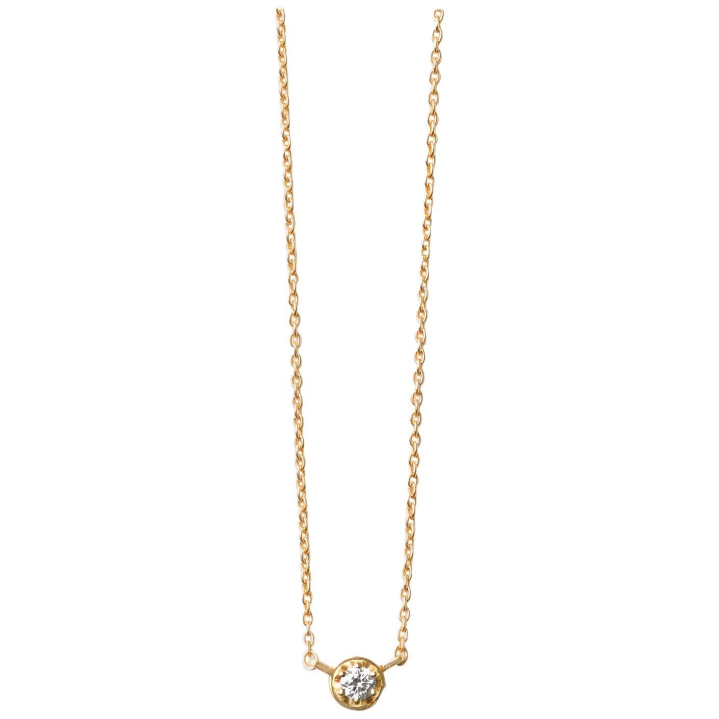 18 Karat Yellow Gold 0.1 Carat Diamond Necklace