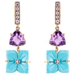 18 Karat Yellow Gold 0.12 Karat White Diamond Turquoise Flower Dangle Earrings