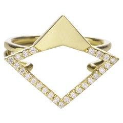 18 Karat Yellow Gold 0.18 Carat Diamond Pavé Orbita Ring