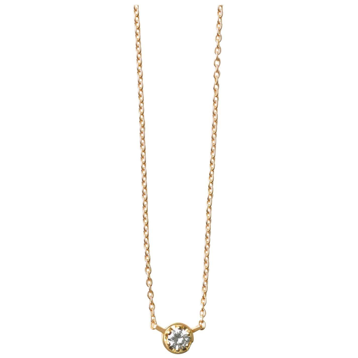 18 Karat Yellow Gold 0.2 Carat Diamond Necklace