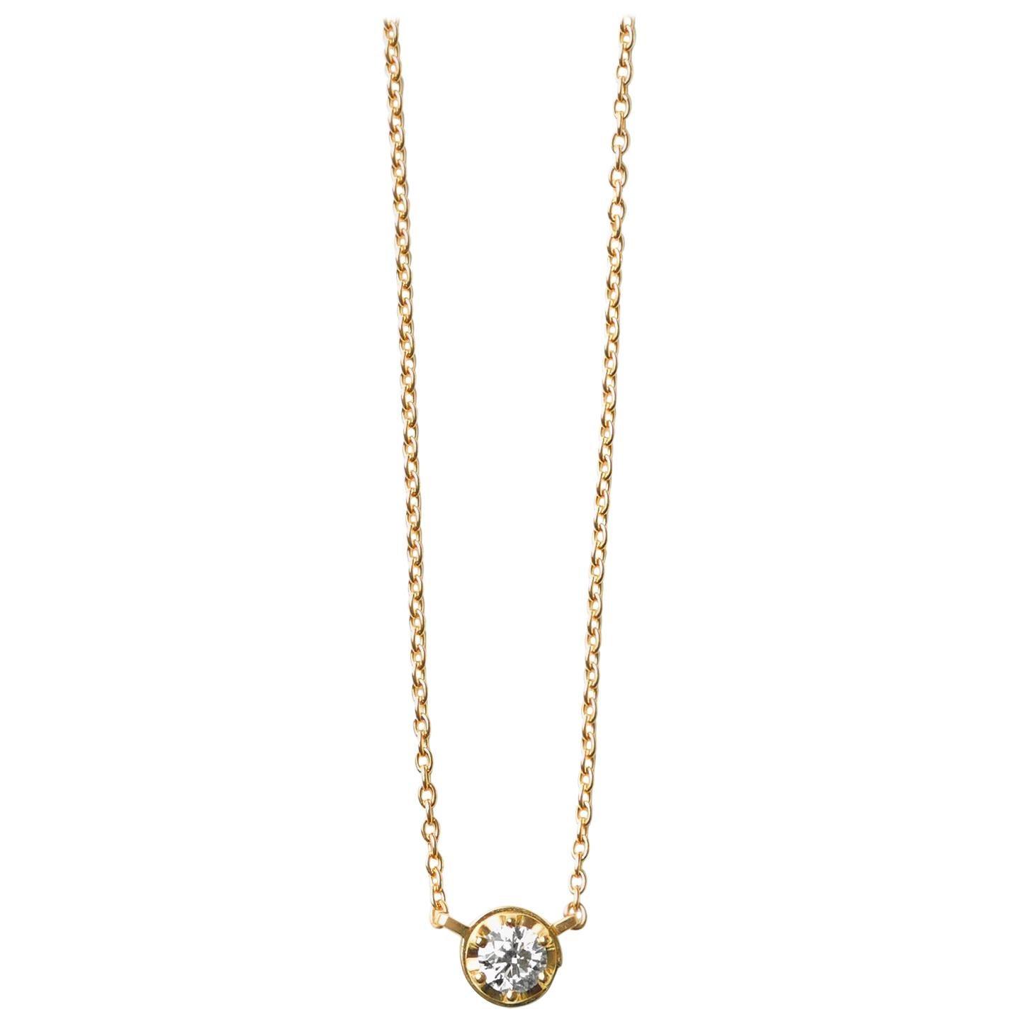 18 Karat Yellow Gold 0.3 Carat Diamond Necklace