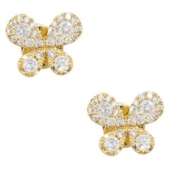 18 Karat Yellow Gold 0.39 Carat Diamond Butterfly Pave Earring Studs