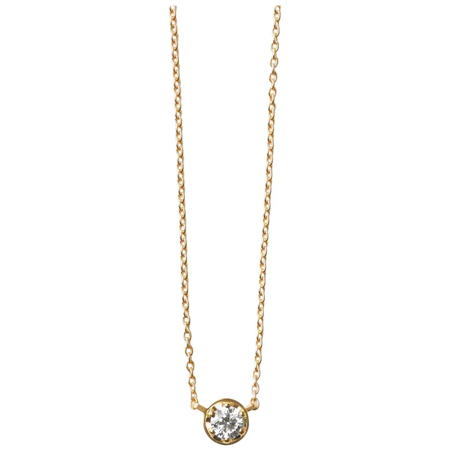 18 Karat Yellow Gold 0.4 Carat Diamond Necklace