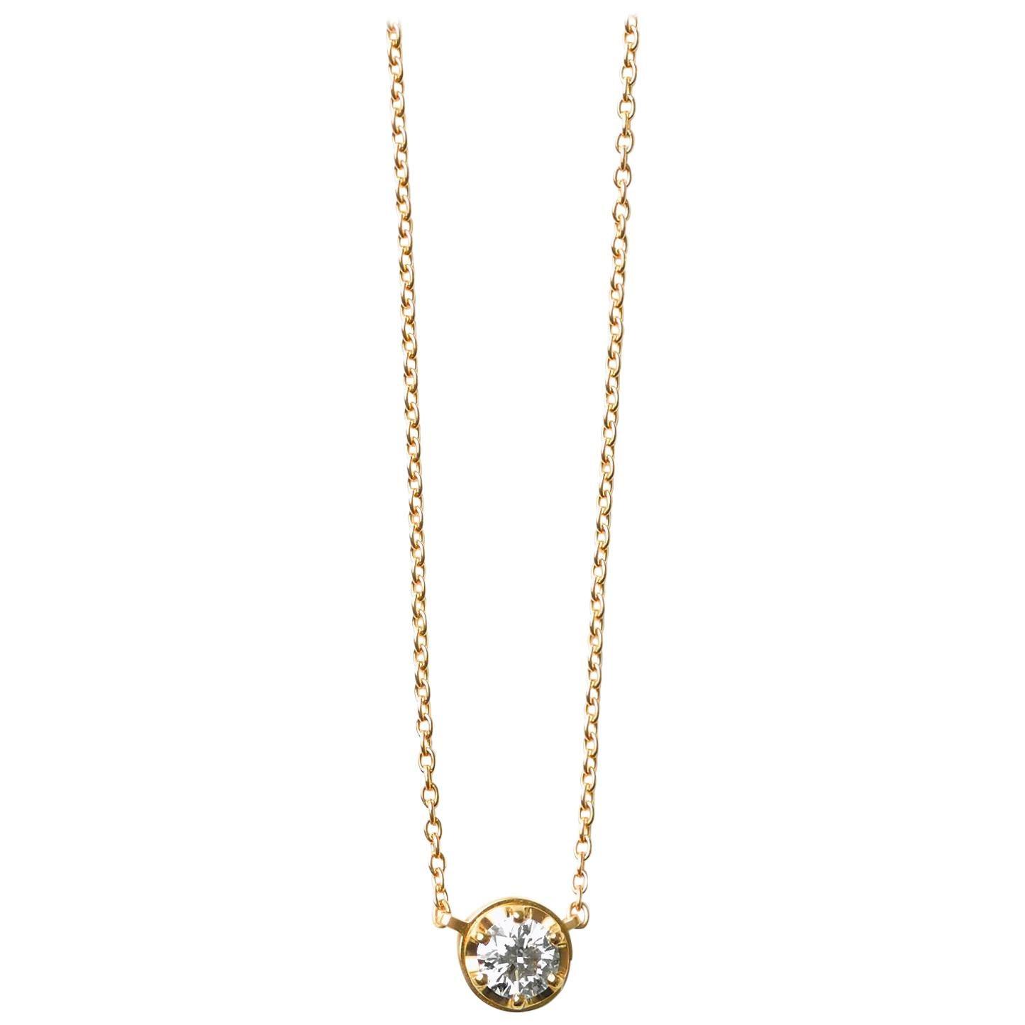 18 Karat Yellow Gold 0.5 Carat Diamond Necklace