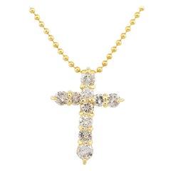 18 Karat Yellow Gold 0.50 Carat Round Diamond Cross Pendant on Chain