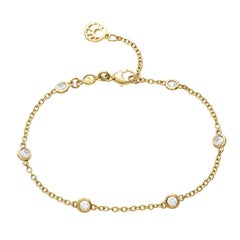 18 Karat Yellow Gold 0.55 Carat Diamond Chain Bracelet