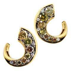 18 Karat Yellow Gold 0.79 Carat Cognac and White Diamond Pave Flat Hoop Earrings