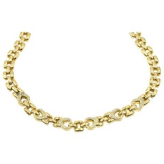 18 Karat Yellow Gold, 0.81 Carat Round Diamond Linked Necklace