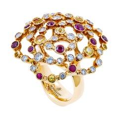 18 Karat Yellow Gold 0.85 Carat Diamonds Rubies Yellow Sapphires Cocktail Ring