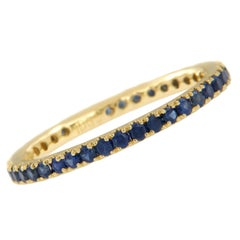 18 Karat Yellow Gold 0.78 Cttw. Blue Sapphire Eternity Band Ring