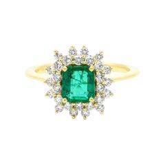 18 Karat Yellow Gold 0.97 Carat Natural Green Emerald and Diamond Cluster Ring