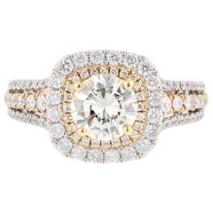 18 Karat Yellow Gold 1.02 Carat Round Diamond Engagement Ring