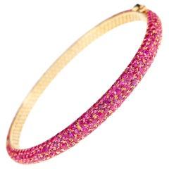 18 Karat Yellow Gold 10.42 Carat Red Hot Ruby Eternity Bracelet