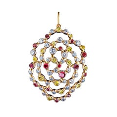 18 Karat Yellow Gold 1.09 Carat Diamonds Rubies Yellow Sapphires Pendant
