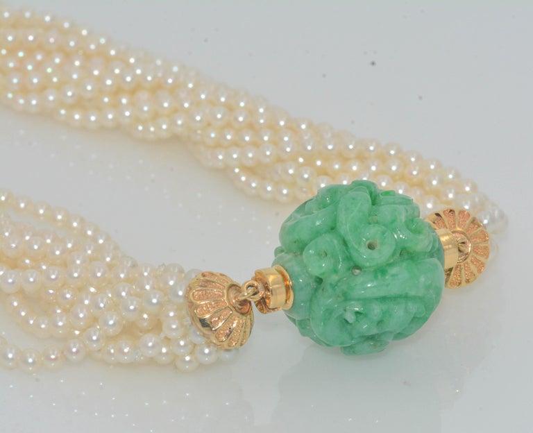 Modern 18 Karat Yellow Gold 11 Strand Akoya Pearl Carved Jadeite Necklace For Sale