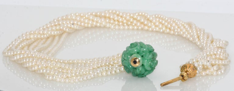 18 Karat Yellow Gold 11 Strand Akoya Pearl Carved Jadeite Necklace In Excellent Condition For Sale In Dallas, TX
