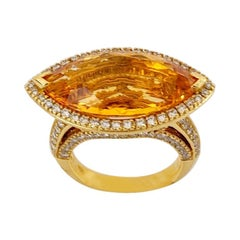 18 Karat Yellow Gold 11.43 Carat Marquis Citrine and 1.87 Carat Diamond Ring