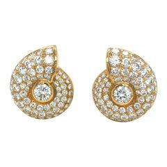 18 Karat Yellow Gold 11.6 Carats Round Cut Diamonds Snail Shell Shaped Earrings