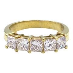 18 Karat Yellow Gold 1.25 Carat Princess Cut 5 Stone Diamond Wedding Band Ring