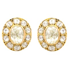 18 Karat Yellow Gold 1.27 Carat Rose-Cut Diamond Stud Earrings