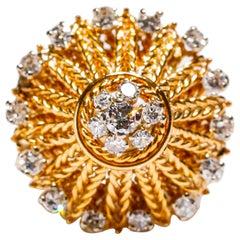 18 Karat Yellow Gold 1.35 Carat White Round Cut Pave Diamond Cocktail Dome Ring