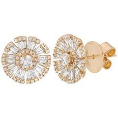 18 Karat Yellow Gold 1.39 Carat Diamonds Round Flower Stud Earrings