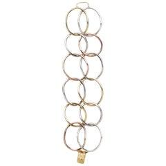 18 Karat Yellow Gold, 14 Karat Pink Gold and Sterling Silver Link Bracelet