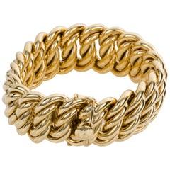 18 Karat Yellow Gold 140 Grams French Gourmette Curb Link Bracelet