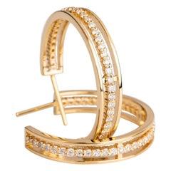 18 Karat Yellow Gold 1.48 Carat White Diamond Floating Hoop Earrings