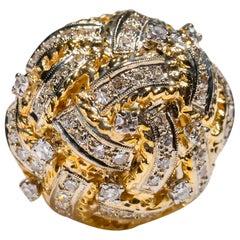 18 Karat Yellow Gold 1.5 Carat Round Pave Diamond Cocktail Ring Vintage Style