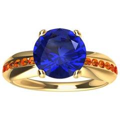 18 Karat Yellow Gold 1.55 Carat Sapphire and Orange Spinels Cocktail Ring