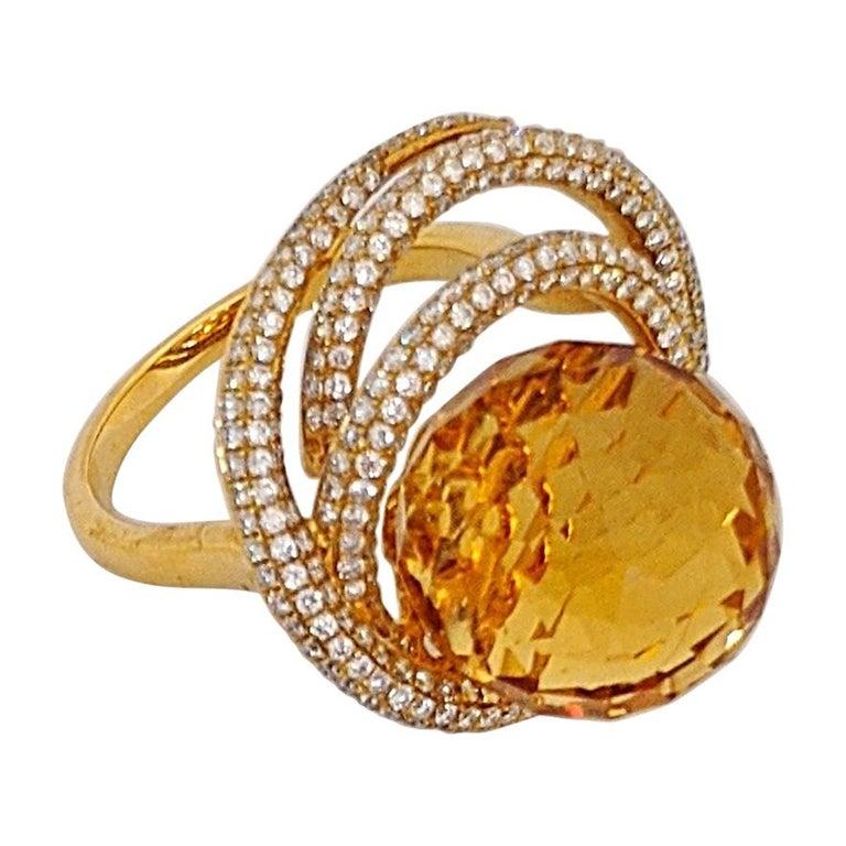 18 Karat Yellow Gold 15.97 Carat Citrine and Diamond Ring For Sale