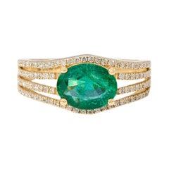 18 Karat Yellow Gold 1.68 Carat Natural Green Emerald and Diamond Statement Ring