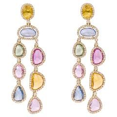 18 Karat Yellow Gold 17.91 Carat Multi-Color Sapphire and Diamond Drop Earrings
