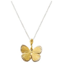 18 Karat Yellow Gold 18 Karat White Gold Baby Asterope Butterfly Necklace