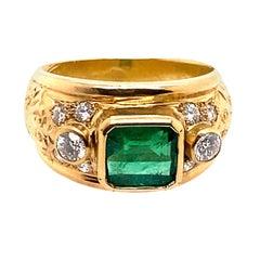 18 Karat Yellow Gold 1.90 Carat Emerald Diamond Ring