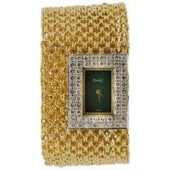 18 Karat Yellow Gold 1970s Piaget Diamond Bracelet Watch #177285
