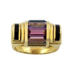 18 Karat Yellow Gold 1980s Multi-Color Gemstone Ring