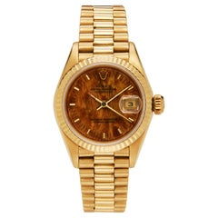 18 Karat Yellow Gold 1985 Rolex Datejust President with Original Wood Dial