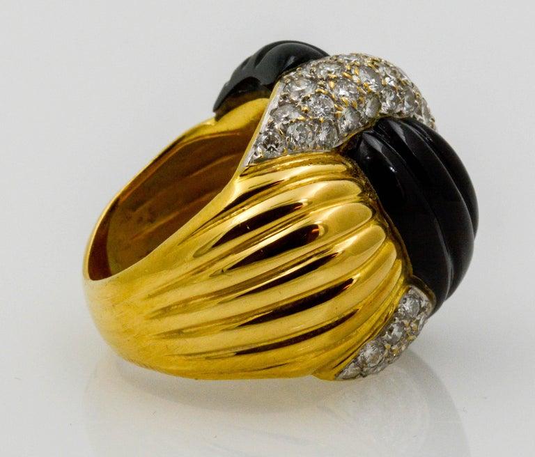 Women's 18 Karat Yellow Gold 2.00 Carat Diamond Onyx Swirl Ring For Sale