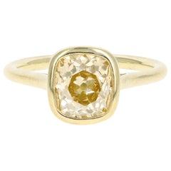 18 Karat Yellow Gold 2.05 Carat Old Mine Cut Champagne Diamond Engagement Ring