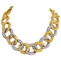 18 Karat Yellow Gold 22.00 Carat Diamond Link Chunky Necklace