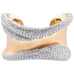 18 Karat Yellow Gold 22.07 Carat Pave Diamond Cuff Bracelet