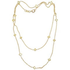 18 Karat Yellow Gold 2.21 Carat Diamond by The Yard Necklace