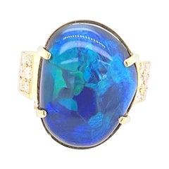 18 Karat Yellow Gold 23 Carat Australian Black Opal Diamond Cocktail Ring