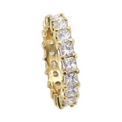 18 Karat Yellow Gold 2.30 Carat Princess Cut Diamond Eternity Band Ring